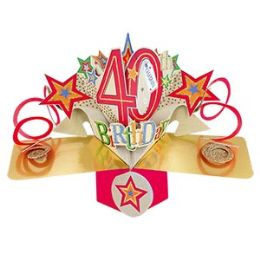 12 Units of Happy 40th Birthday Pop Up Card -Stars - Balloons & Balloon Holder