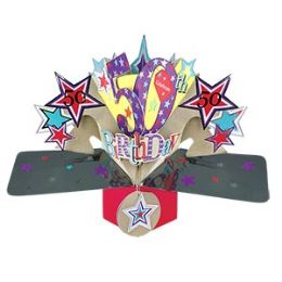 12 Units of Happy 50th Birthday Pop Up Card -Stars - Balloons & Balloon Holder