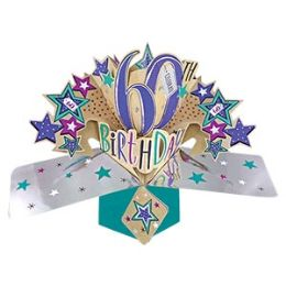 12 Units of Happy 60th Birthday Pop Up Card -Stars - Balloons & Balloon Holder