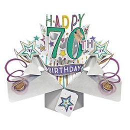 12 Units of Happy 70th Birthday Pop Up Card -Stars - Balloons & Balloon Holder