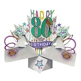 12 Units of Happy 80th Birthday Pop Up Card -Stars - Balloons & Balloon Holder