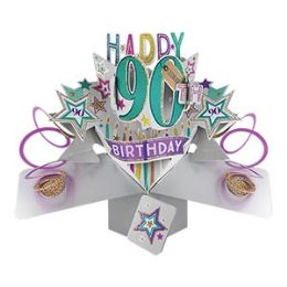 12 Units of Happy 90th Birthday Pop Up Card -Stars - Balloons & Balloon Holder
