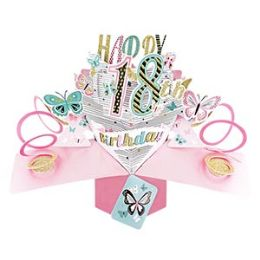 12 Units of Happy 18th Birthday Pop Up Card -Butterflies - Balloons & Balloon Holder