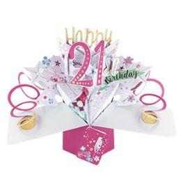 12 Units of Happy 21 Birthday Pop Up Card -Bubbly - Balloons & Balloon Holder