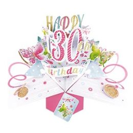 12 Units of Happy 30th Birthday Pop Up Card -Butterflies - Balloons & Balloon Holder
