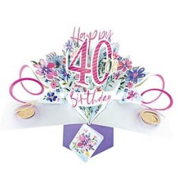 12 Units of Happy 40th Birthday Pop Up Card -Flowers - Balloons & Balloon Holder