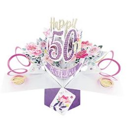 12 Units of Happy 50th Birthday Pop Up Card -Flowers - Balloons & Balloon Holder