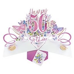 12 Units of Happy 50th Birthday Pop Up Card -Butterflies - Balloons & Balloon Holder