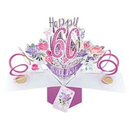12 Units of Happy 60th Birthday Pop Up Card -Flowers - Balloons & Balloon Holder