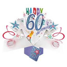 12 Units of Happy 60th Birthday Pop Up Card -Bubbly - Balloons & Balloon Holder