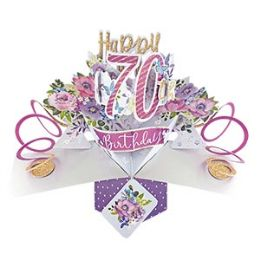 12 Units of Happy 70th Birthday Pop Up Card -Flowers - Balloons & Balloon Holder