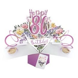 12 Units of Happy 80th Birthday Pop Up Card -Flowers - Balloons & Balloon Holder