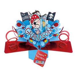 12 Units of Happy Birthday Pop Up Card -Grandson - Balloons & Balloon Holder