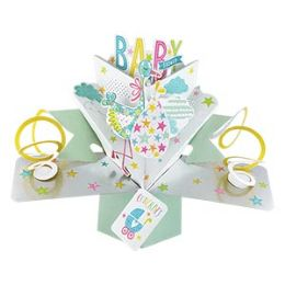 12 Units of Baby Shower Pop Up Card -Stork - Balloons & Balloon Holder
