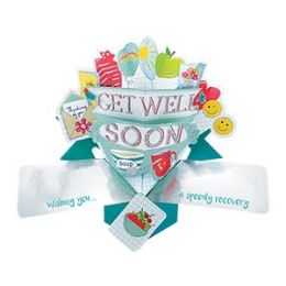 12 Units of Get Well Soon Pop Up Card -Fruit - Balloons & Balloon Holder