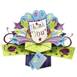 12 Units of Thank You Pop Up Card -Stars - Balloons & Balloon Holder