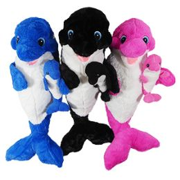 """12 Units of 21"""" Plush Orca Whale With Baby - Plush Toys"""