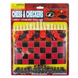 36 Units of 2-IN-1 Chess And Checkers Game - Dominoes & Chess