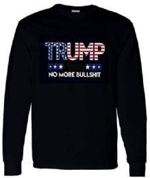 12 Units of Trump No More Bull Shit American Flag long sleeve Shirts - Mens T-Shirts