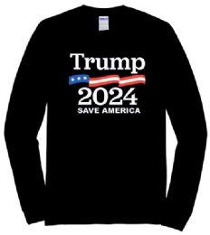 12 Units of Trump2024 Save America Black color Long Sleeve T shirt PLUS size - Mens T-Shirts