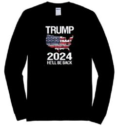 12 Units of Trump 2024 He'll Be Back Black color Long Sleeve Tshirt - Mens T-Shirts