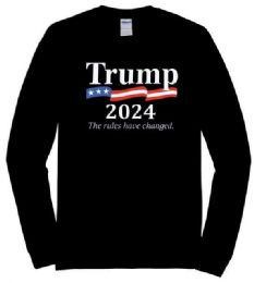 12 Units of Trump2024 The rules have changed Black color Long Sleeve Tshirt Plus Size - Mens T-Shirts