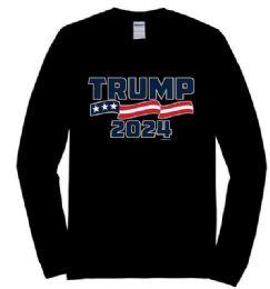 12 Units of Trump 2024 Black Color Long Sleeve Shirts - Mens T-Shirts