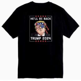 12 Units of Trump 2024 He'll Be Back Black Tshirt PLUS Size - Mens T-Shirts