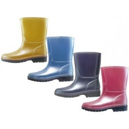 24 Units of Children's Water Proof Soft Plain Rubber Rain Boots - Girls Boots