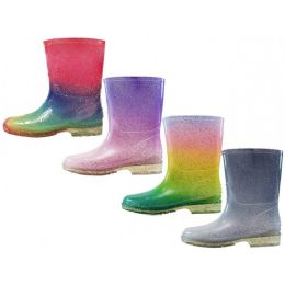 24 Units of Children's Water Proof Soft Plain Rubber Rain Boots Assorted Glitter - Girls Boots