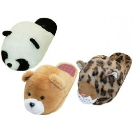36 Units of Women's Novelties Animals Head Slippers - Girls Slippers