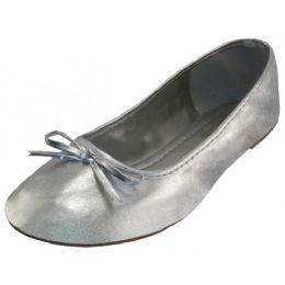 18 Units of Women's Comfort Soft Pu Upper Ballet Flat Shoes In Metallic Silver - Women's Flats