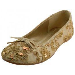 18 Units of Women's Sequin Ballet Flat Shoes In Bgold - Women's Flats