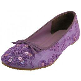 18 Units of Women's Sequin Ballet Flat Shoes In Purple - Women's Flats