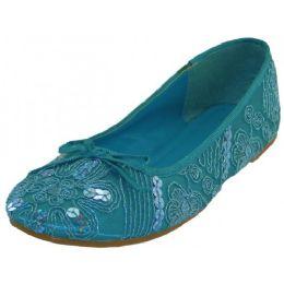 18 Units of Women's Sequin Ballet Flat Shoes Intorquoise - Women's Flats