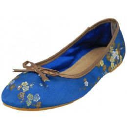 18 Units of Women's Satin Brocade Ballet Flat Shoes In Blue Color - Women's Flats