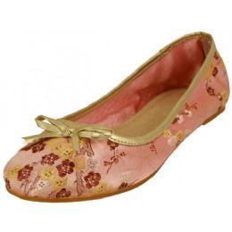 18 Units of Women's Satin Brocade Ballet Flat Shoes In Pink Color - Women's Flats