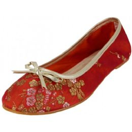 18 Units of Women's Satin Brocade Ballet Flat Shoes In Red Color - Women's Flats