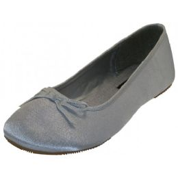 18 Units of Women's Satin Ballet Flat Shoes In Silver - Women's Flats