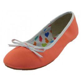 18 Units of Women's Satin Ballet Flat Shoes In Orange - Women's Flats