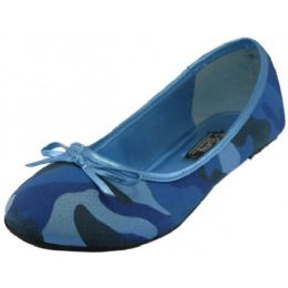 18 Units of Women's Camouflage Ballet Flat In Blue - Women's Flats