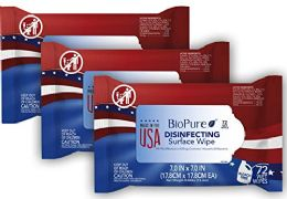 12 Units of Biopure Made In The Usa Sanitizing Disinfectant Cleaning Wipes Epa Approved 72 ct - First Aid and Hygiene Gear