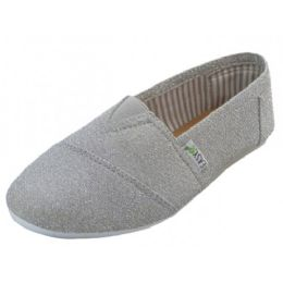 36 Units of Women's Most Comfortable Slip On Casual Canvas Shoe In Metallic Silver Color - Women's Sneakers