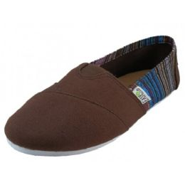 36 Units of Women's Most Comfortable Slip On Casual Canvas Shoe In Brown Color - Women's Sneakers