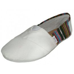 36 Units of Women's Most Comfortable Slip On Casual Canvas Shoe In White Color - Women's Sneakers