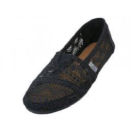 36 Units of Women's Crochet Canvas Slip On In Black Color - Women's Sneakers
