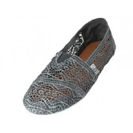 36 Units of Women's Crochet Canvas Slip On In Gray Color - Women's Sneakers