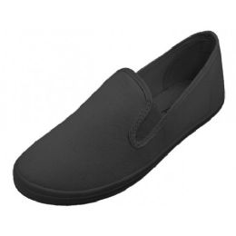 24 Units of Women's Slip On Twin Gore Casual Cotton Upper Canvas Shoes In Black - Women's Sneakers