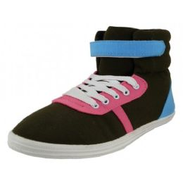24 Units of Women's High Top Canvas LacE-Up Sneakers - Women's Sneakers