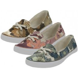 24 Units of Women's Floral Print Canvas Lace Up Shoes - Women's Sneakers